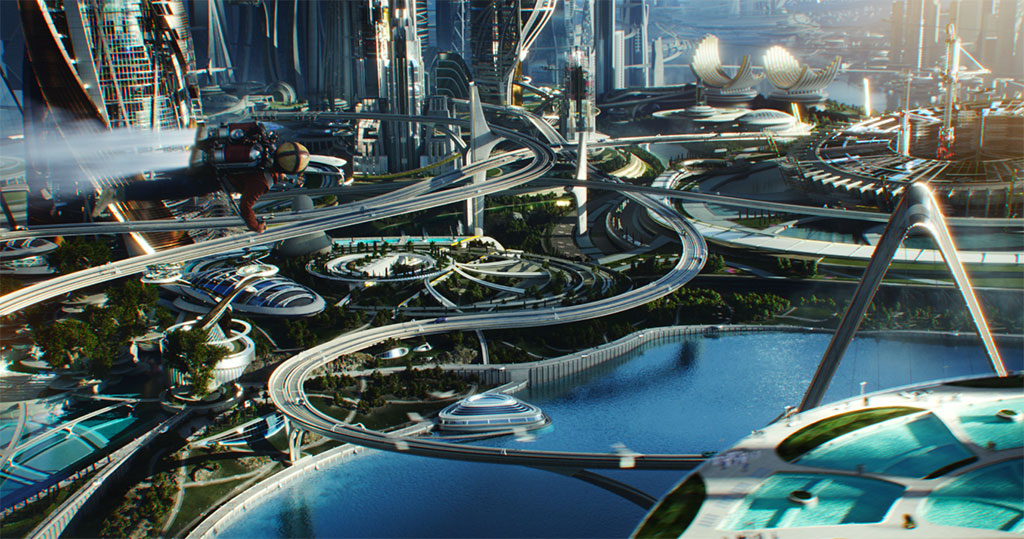 Tomorrowland artist rendering with jet pack