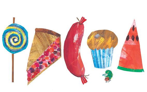 Food illustration from The Very Hungry Caterpillar, my diet Bible.
