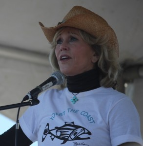 Jane Fonda speaks to a crowd at Vancouver's Jericho Beach Park June 13 as part of Toast the Coast