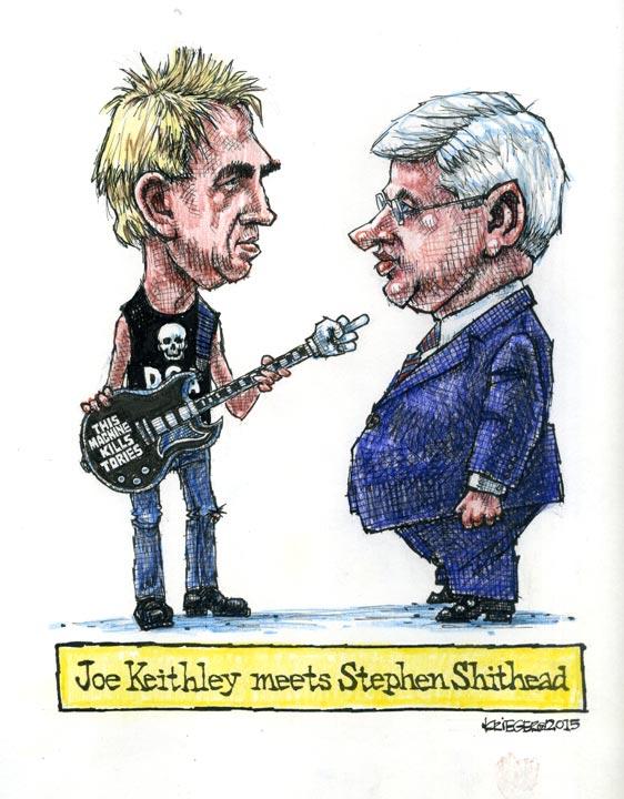 Bob Krieger's cartoon of Joe Keithley and Stephen Harper