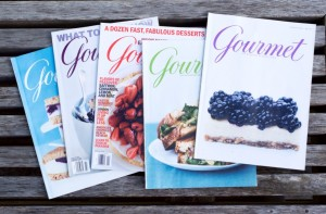 A sampling of Louise Crosby's backissues of Gourmet Magazine