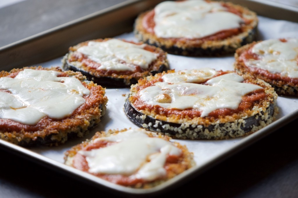 Fresh sheet: Eggplant parmigiana rounds baked to tasty perfection