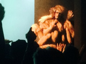 Peaches uses her hands to stimulate the audience, and her labial sidekicks