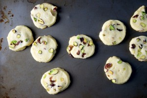 Pistachio Cranberry Icebox Cookies on a sheet