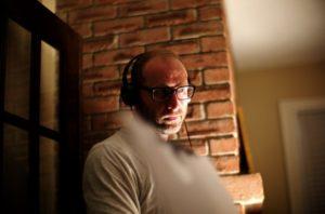 DAVID BEZMOZGIS (director) on the set of his new feature film NATASHA. Courtesy of Mongrel Media. Photo: Eli Reed